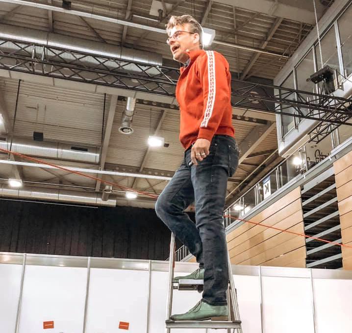 Martin Gaedt zeigt Provotainment auf der Gründermesse Ignition am 12. März 2019.